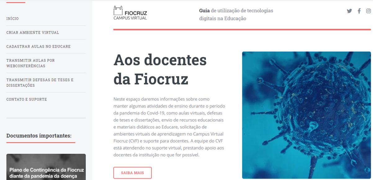 Campus Virtual Fiocruz lança Guia de Tecnologias Educacionais para facilitar atividades na pandemia