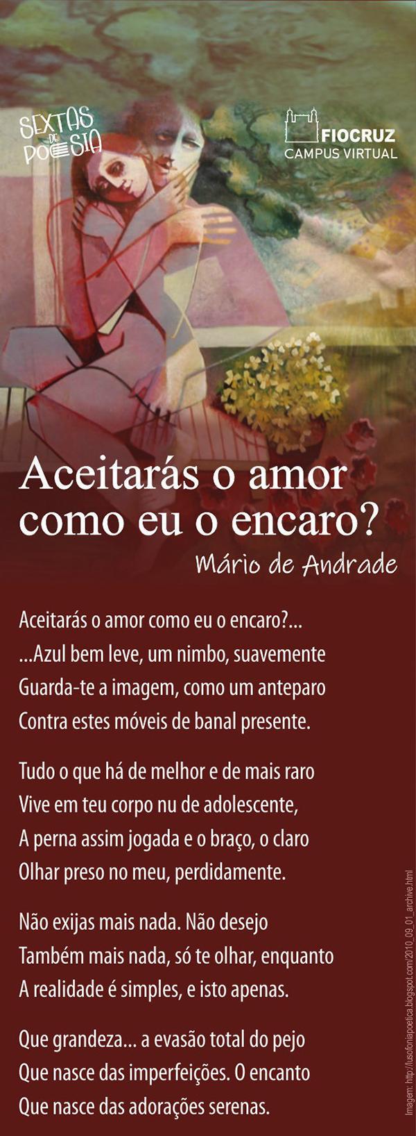 Sextas de Poesia traz Mário de Andrade falando sobre a inconstância do amor