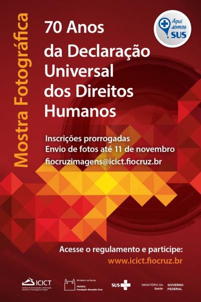 Icict recebe inscrições para mostra fotográfica sobre direitos humanos até 11 de novembro