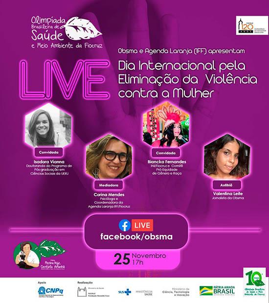 Live pela eliminação da violência contra mulheres e meninas será realizada em 25/11
