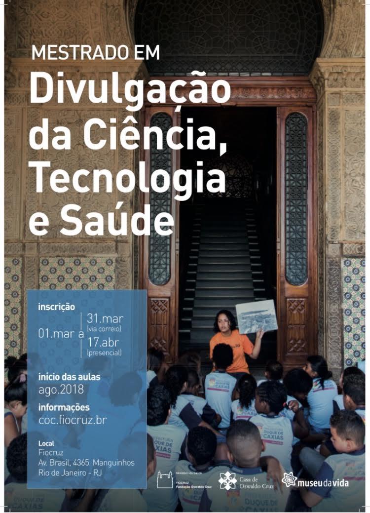 Saiu o edital para o mestrado em divulgação da ciência, tecnologia e saúde